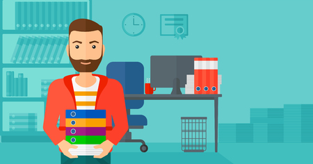 A hipster man with the beard standing with pile of folders on the background of business office vector flat design illustration. Horizontal layout. Çizim