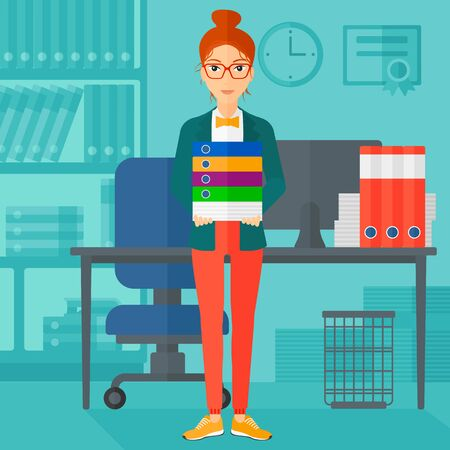 A woman standing with pile of folders on the background of business office vector flat design illustration. Square layout.