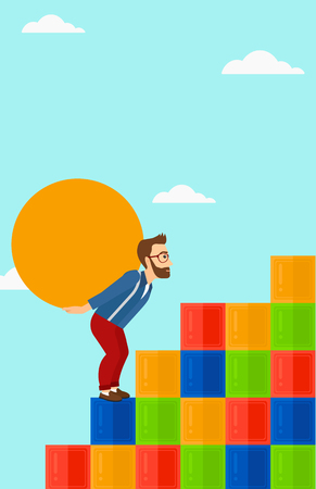 uphill: A tired hipster man with the beard  rising up on the colored cubes and carrying a big stone on his back on the background of blue sky vector flat design illustration. Vertical layout. Illustration