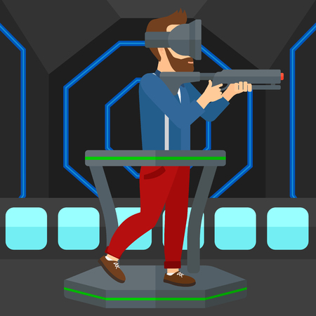 A hipster man wearing virtual reality headset and standing on a treadmill with a gun in hands vector flat design illustration. Square layout.