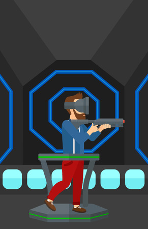 A hipster man wearing virtual reality headset and standing on a treadmill with a gun in hands vector flat design illustration. Vertical layout.