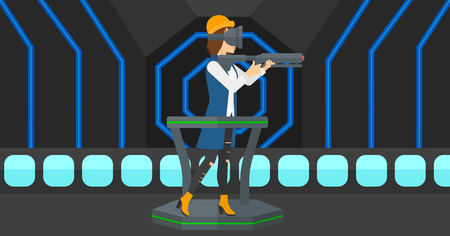 A woman wearing virtual reality headset and standing on a treadmill with a gun in hands vector flat design illustration. Horizontal layout. Illusztráció