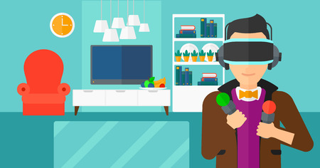 pickups: A  man wearing a virtual relaity headset on the background of modern  living room vector flat design illustration. Horizontal layout.