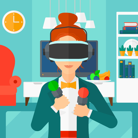 pickups: A  woman wearing a virtual relaity headset on the background of modern  living room vector flat design illustration. Square layout.