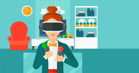 A  woman wearing a virtual relaity headset on the background of modern  living room vector flat design illustration. Horizontal layout.