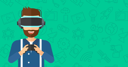 multimedia background: A hipster man with the beard wearing a virtual relaity headset and holding remote control in hands on a green background with technology icons vector flat design illustration. Horizontal layout.