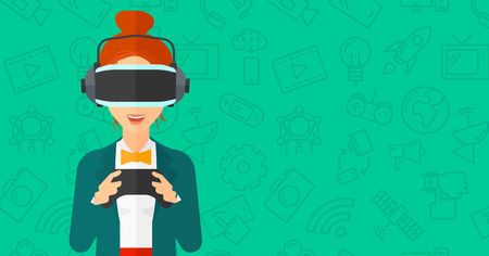 A woman wearing a virtual relaity headset and holding remote control in hands on a green background with technology icons vector flat design illustration. Horizontal layout.