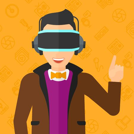 man pointing up: A  man wearing a virtual relaity headset and pointing a forefinger up on a yellow background with media icons vector flat design illustration. Square layout.