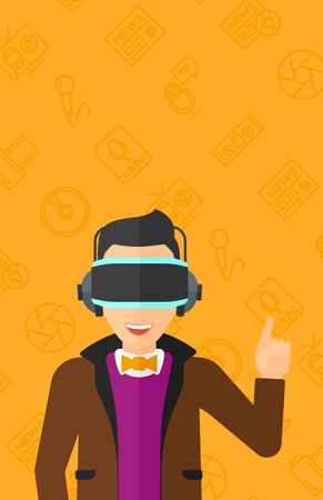 man pointing up: A  man wearing a virtual relaity headset and pointing a forefinger up on a yellow background with media icons vector flat design illustration. Vertical layout.