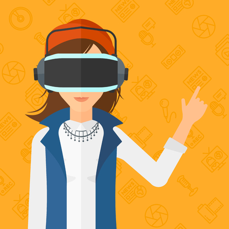 woman pointing up: A woman wearing a virtual relaity headset and pointing a forefinger up on a yellow background with media icons vector flat design illustration. Square layout.