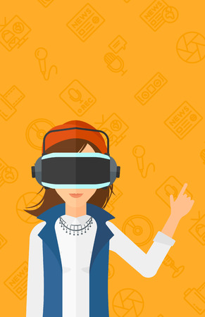 woman pointing up: A woman wearing a virtual relaity headset and pointing a forefinger up on a yellow background with media icons vector flat design illustration. Vertical layout. Illustration