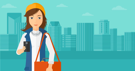 using smartphone: A woman using a smartphone on a city background vector flat design illustration. Horizontal layout. Illustration