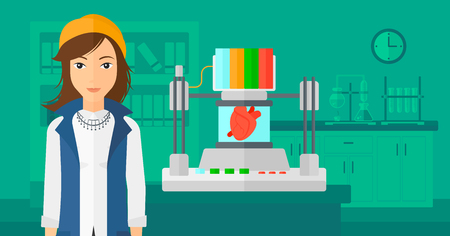 A woman with 3D printer making a heart on the background of laboratory vector flat design illustration. Horizontal layout. Illustration