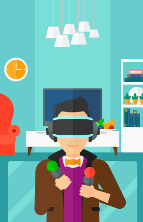 pickups: A  man wearing a virtual relaity headset on the background of modern  living room vector flat design illustration. Vertical layout.