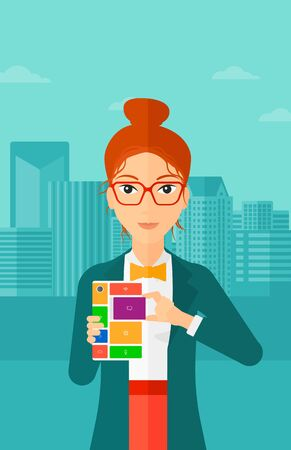 repurpose: A woman holding modular phone on a city background vector flat design illustration. Vertical layout.