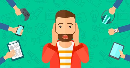 despair: A hipster man in despair and many hands with gadgets  around him on a green background with technology icons vector flat design illustration. Horizontal layout.