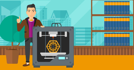 man pointing up: A man standing near 3D printer and pointing forefinger up on the background of panoramic modern office with city view vector flat design illustration. Horizontal layout.