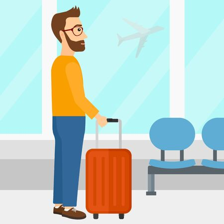 fly cartoon: A hipster man with the beard at airport with a suitcase on the background of airplane in sky outside the window vector flat design illustration. Square layout.