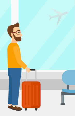 airport cartoon: A hipster man with the beard at airport with a suitcase on the background of airplane in sky outside the window vector flat design illustration. Vertical layout. Illustration