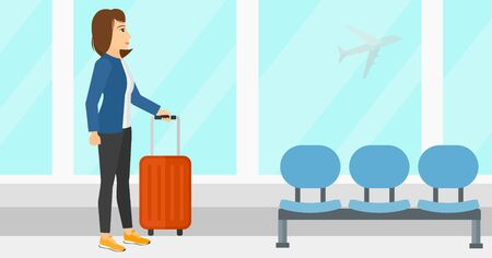 airport cartoon: A woman at airport with a suitcase on the background of airplane in sky outside the window vector flat design illustration. Horizontal layout.