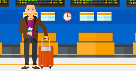 airport cartoon: A man standing with suitcase and holding a passport with ticket in hand on the background of schedule board in airport vector flat design illustration. Horizontal layout.