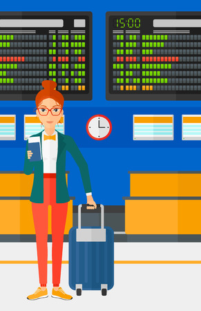 A woman standing with suitcase and holding a passport with ticket in hand on the background of schedule board in airport vector flat design illustration. Vertical layout.