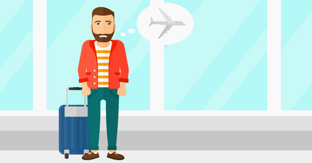airport cartoon: A hipster man with the beard frightened by future flight on the background of airport vector flat design illustration. Horizontal layout.