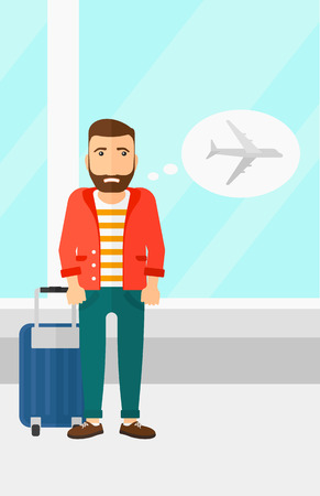 shaken: A hipster man with the beard frightened by future flight on the background of airport vector flat design illustration. Vertical layout. Illustration