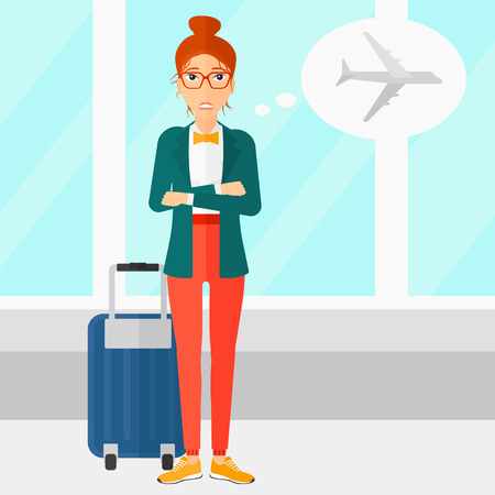 A woman frightened by future flight on the background of airport vector flat design illustration. Square layout. Vettoriali