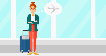 airport cartoon: A woman frightened by future flight on the background of airport vector flat design illustration. Horizontal layout.