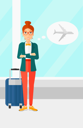 airport cartoon: A woman frightened by future flight on the background of airport vector flat design illustration. Vertical layout. Illustration