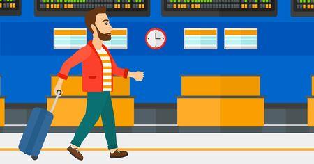 Een hipster man met de baard lopen met een koffer op de achtergrond van de programmaraad in de luchthaven vector platte ontwerp illustratie. Horizontale lay-out. Stock Illustratie