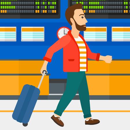 Een hipstermens met de baard die met een koffer op de achtergrond van programmaraad lopen in illustratie van het luchthaven de vector vlakke ontwerp. Vierkante lay-out.