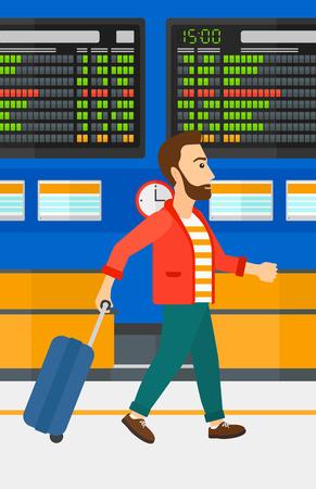 Een hipster man met de baard lopen met een koffer op de achtergrond van de programmaraad in de luchthaven vector platte ontwerp illustratie. Verticale lay-out. Stock Illustratie