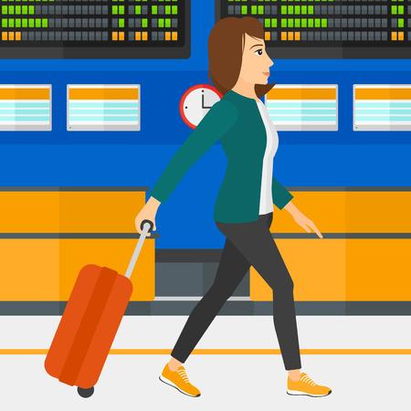 Een vrouw die met een koffer op de achtergrond van de programmaraad in de luchthaven vector platte ontwerp illustratie. Vierkante lay-out.