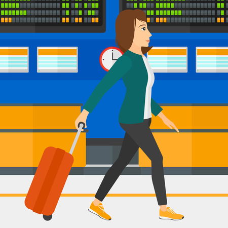 A woman walking with a suitcase on the background of schedule board in airport vector flat design illustration. Square layout.