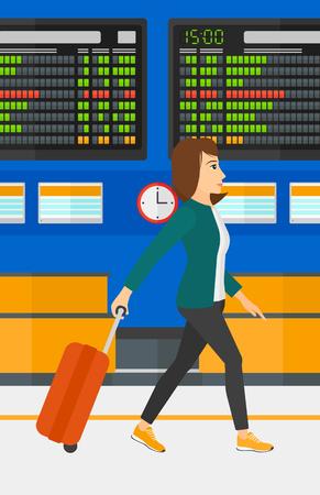 Een vrouw die met een koffer op de achtergrond van de programmaraad in de luchthaven vector platte ontwerp illustratie. Verticale lay-out.