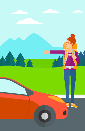 A woman hitchhiking trying to stop a car on the background of mountains and trees vector flat design illustration. Vertical layout.