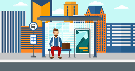 A hipster man with the beard waiting for a bus at a bus-stop on a city background vector flat design illustration. Horizontal layout.