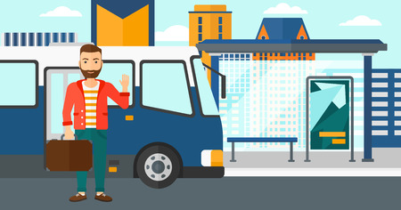 bus stop: A hipster man with the beard standing at the entrance door of bus on the background of bus stop with skyscrapers behind vector flat design illustration. Horizontal layout.