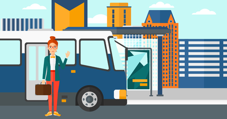 bus stop: A woman standing at the entrance door of bus on the background of bus stop with skyscrapers behind vector flat design illustration. Horizontal layout.