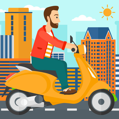 motor scooter: A hipster man with the beard riding a scooter on a city background vector flat design illustration. Square layout.