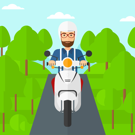 forest trees: A hipster man with the beard riding a scooter on the asphalt road on the background of forest vector flat design illustration. Square layout. Illustration