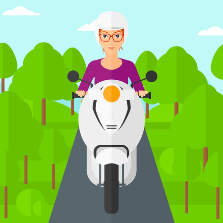 female driver: A woman riding a scooter on the asphalt road on the background of forest vector flat design illustration. Square layout. Illustration