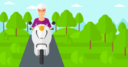 A woman riding a scooter on the asphalt road on the background of forest vector flat design illustration. Horizontal layout.