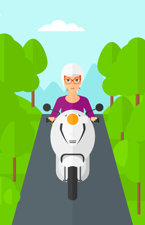 forest trees: A woman riding a scooter on the asphalt road on the background of forest vector flat design illustration. Vertical layout.