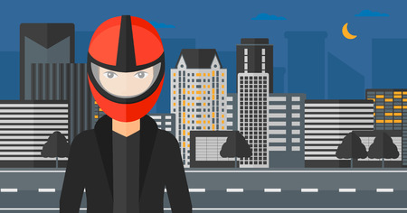 cartoon building: A woman in biker helmet on the background of night city vector flat design illustration. Horizontal layout.