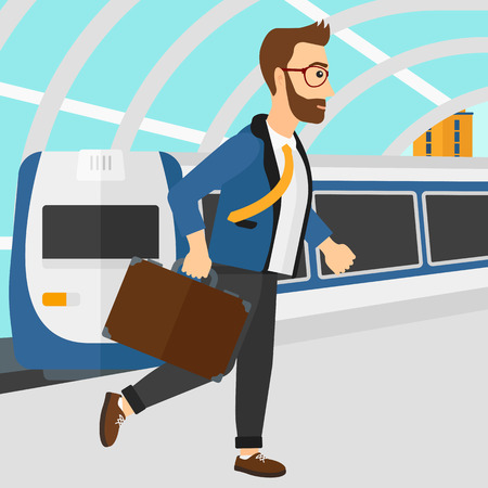 arriving: A hipster man with the beard walking on the platform on the background of modern train arriving at the station vector flat design illustration. Square layout. Illustration