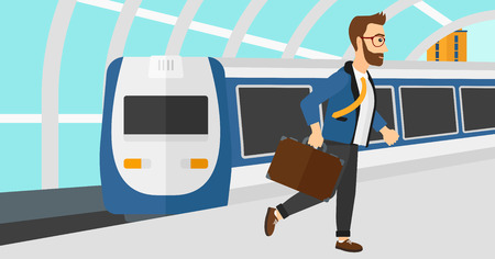 A hipster man with the beard walking on the platform on the background of modern train arriving at the station vector flat design illustration. Horizontal layout.