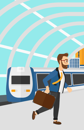 A hipster man with the beard walking on the platform on the background of modern train arriving at the station vector flat design illustration. Vertical layout.